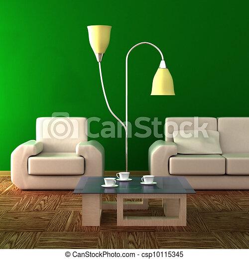 room., żyjący, wewnętrzny, image., 3d - csp10115345