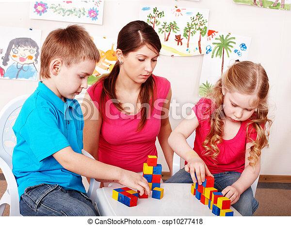 room., プレーしなさい, 木ブロック, 子供 - csp10277418