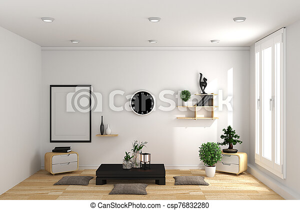 Room Design Japanese-style. 3D rendering - csp76832280