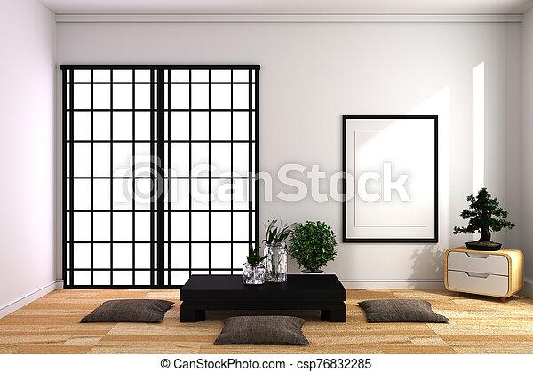 Room Design Japanese-style. 3D rendering - csp76832285