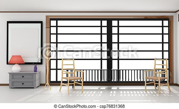 Room Design Japanese-style. 3D rendering - csp76831368