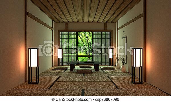 Room Design Japanese-style. 3D rendering - csp76807090