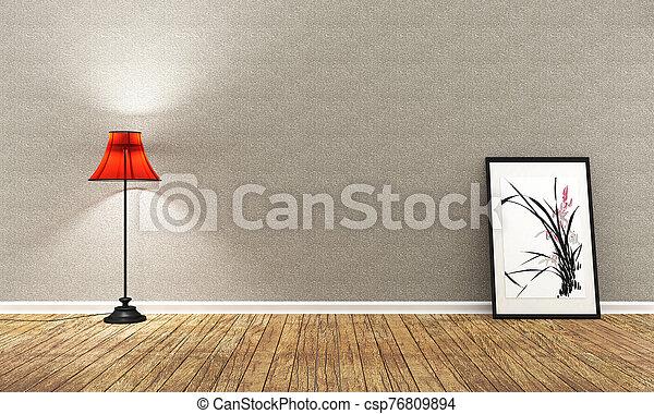 Room Design Japanese-style. 3D rendering - csp76809894