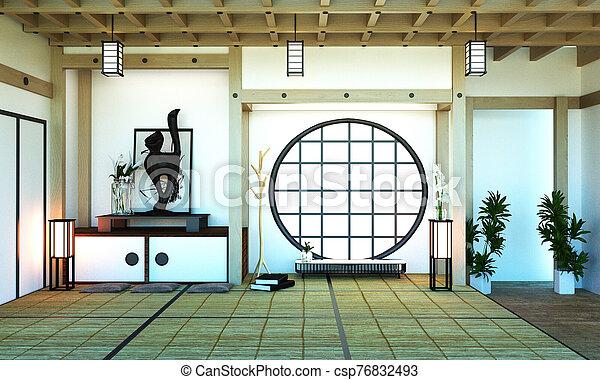 Room Design Japanese-style. 3D rendering - csp76832493