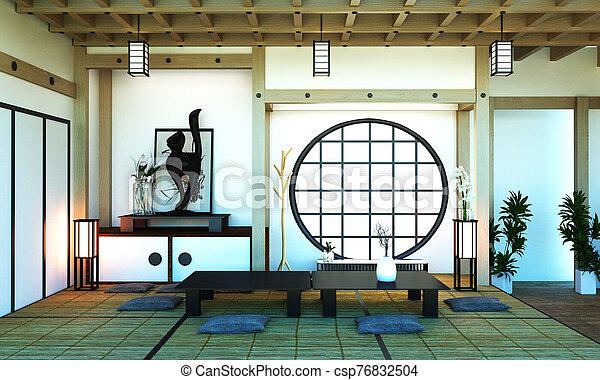 Room Design Japanese-style. 3D rendering - csp76832504