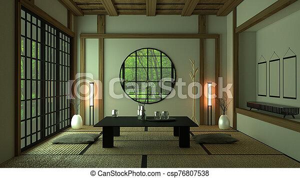 Room Design Japanese-style. 3D rendering - csp76807538