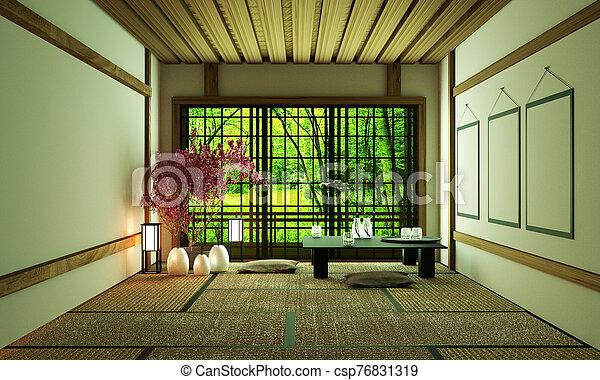 Room Design Japanese-style.3D rendering - csp76831319