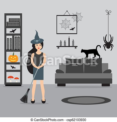 room., feiticeira, 2019., dia das bruxas, cabo vassoura - csp62103930