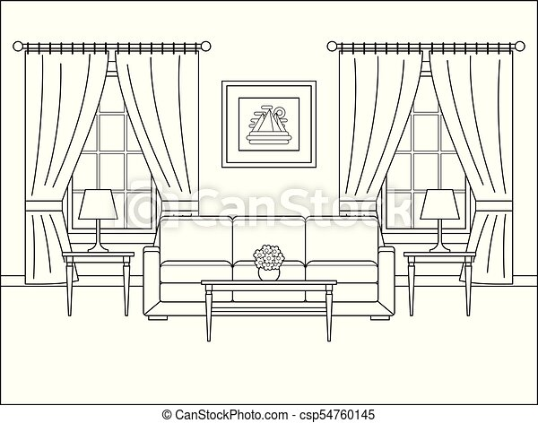 Room Interior With Window In Flat Design Outline Vector Illustration