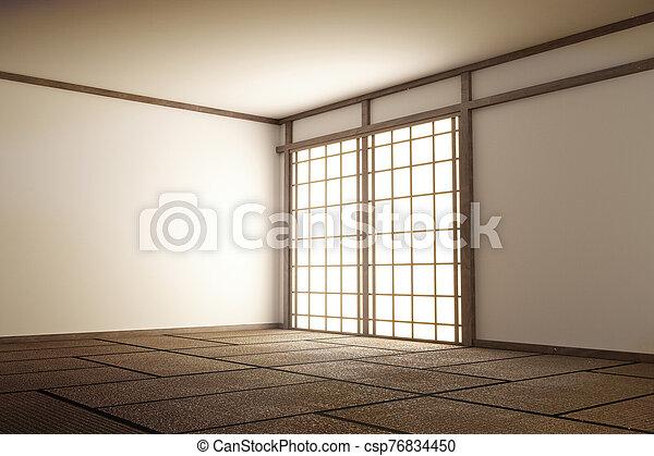 Room Japan Style - Mock up interior design. 3d rendering - csp76834450