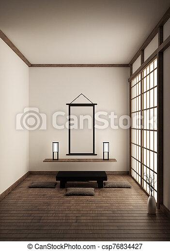Room Japan Style - Mock up interior design. 3d rendering - csp76834427