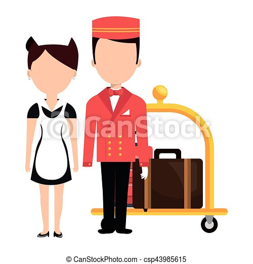 room service and bellboy character hotel vector illustration rh canstockphoto com clipart hotel room clip art hotel building