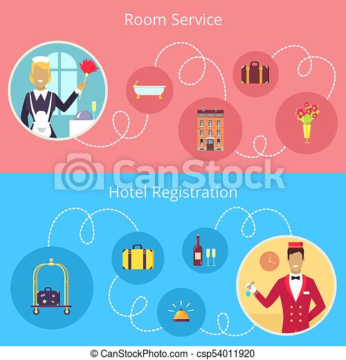 Room Service And Hotel Registration Vector Poster