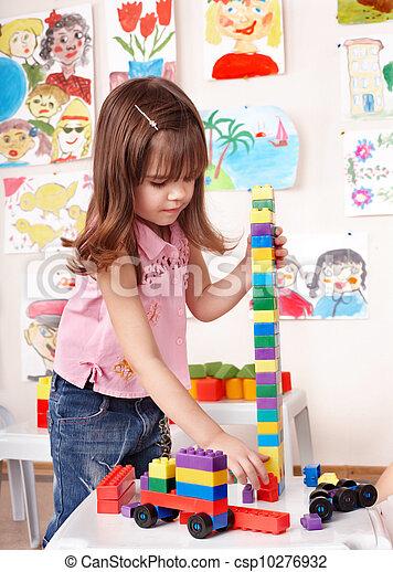 room., spelend, bouwsector, toneelstuk, kind, set - csp10276932