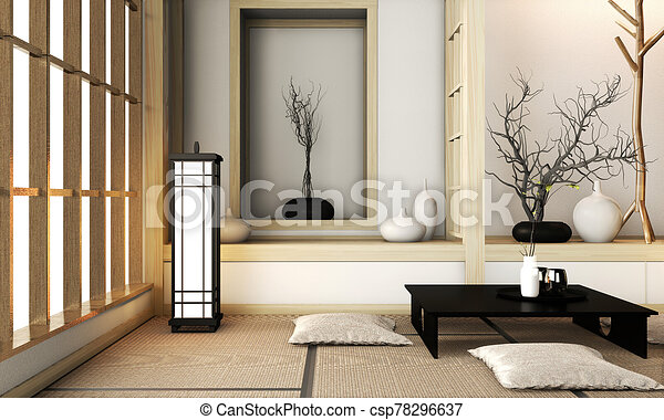 Room Very Zen Style With Decoration Japanese Style On Tatami Mat 3d Rendering Mock Up Room Interior Design 3d Rendering