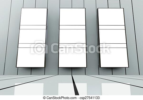 Room with big empty frames - 3d rendered illustration.