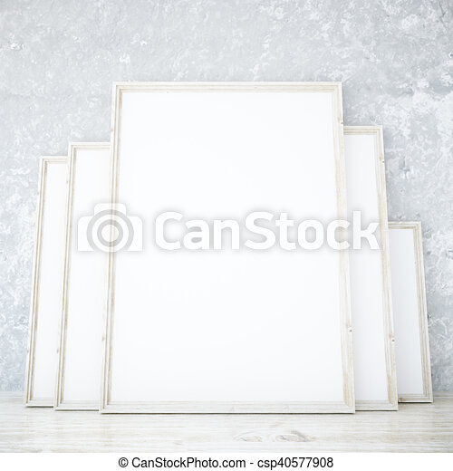 Room with blank frames. Room with several blank picture frames ...
