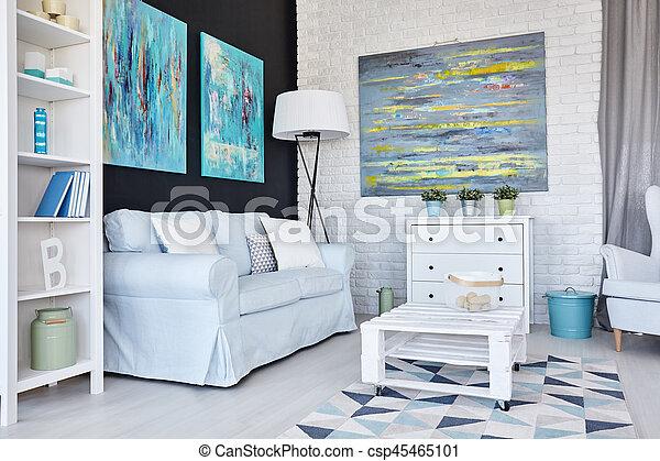 Room with brick wall - csp45465101