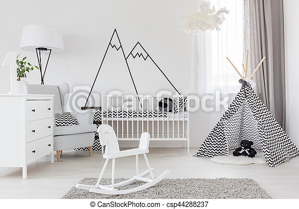 Room with cockhorse and crib - csp44288237