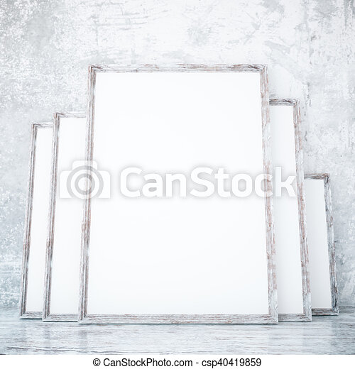 Room with empty frames. Room with several empty picture frames ...