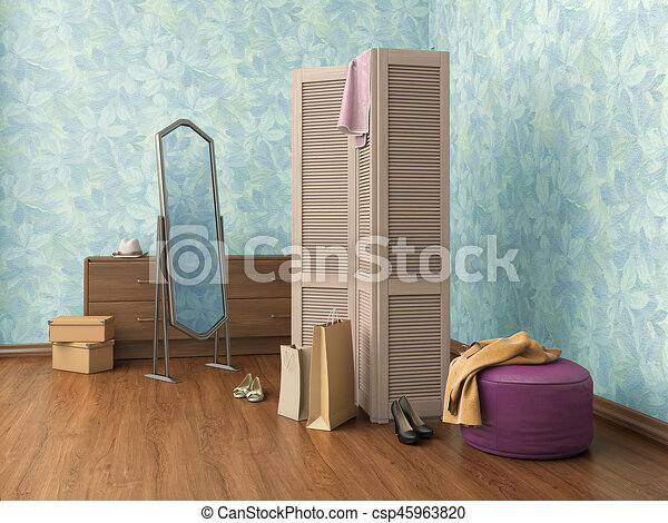 Room With Mirror Clothes Cupboard Boxes And Shoes 3d Illustration