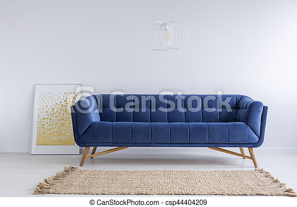 Room With Sofa And Rug Simple White Room With Blue Sofa And Rug Canstock