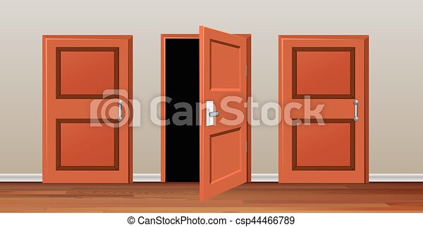 Room with three doors - csp44466789 & Room with three doors illustration.
