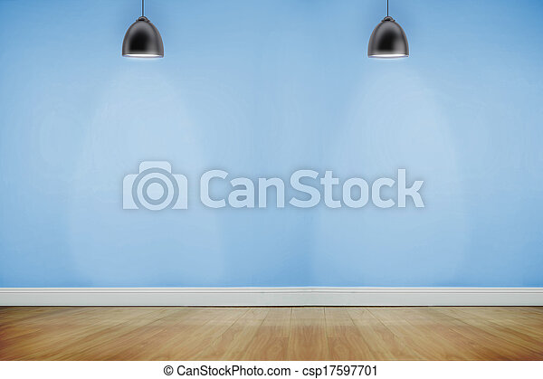 Room with wooden floor lighted with spotlights - csp17597701