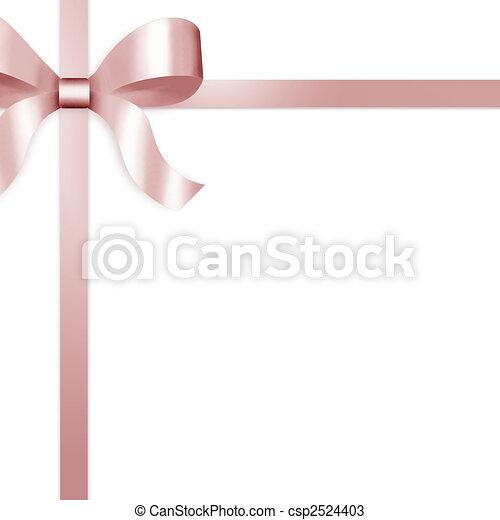rooskleurig satijn, lint, geschenk buiging - csp2524403