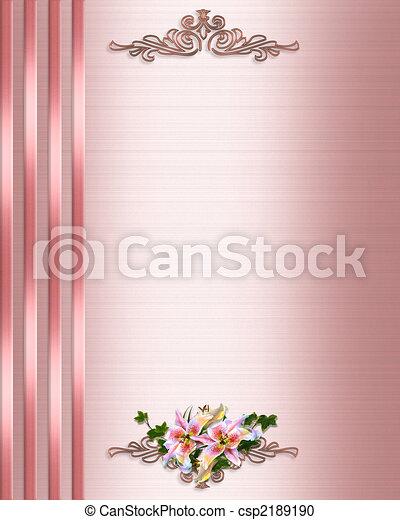 rooskleurig satijn, trouwfeest, grens, uitnodiging - csp2189190