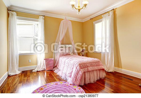 Rooskleurige kamer bed meisje baldakijn vrolijke . roze ivoor