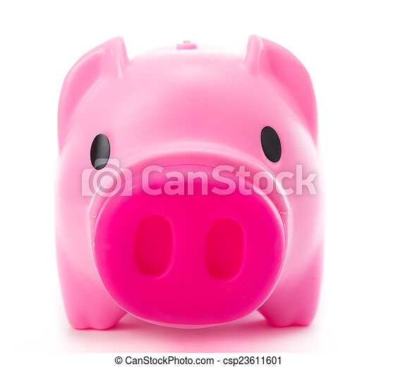rooskleurige piggy bank, vrijstaand - csp23611601