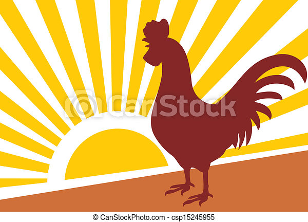 rooster and morning sun - csp15245955