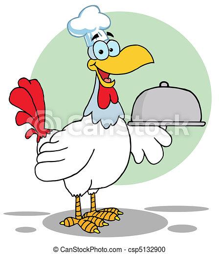 Rooster Bird Chef Serving A Platter - csp5132900