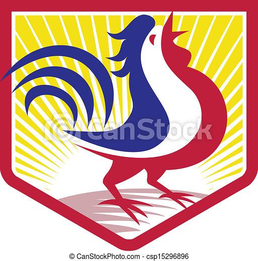 Rooster Cockerel Crowing Crest - csp15296896