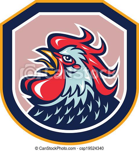 Rooster Cockerel Crowing Shield Retro - csp19524340