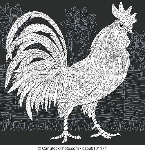 Rooster Coloring Page And Sunflowers Line Art