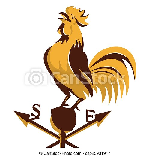 Rooster-crowing-weather-vane. Vector illustration of a ...