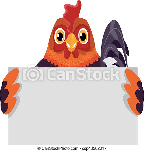 Rooster Holding a Blank Board - csp43582017