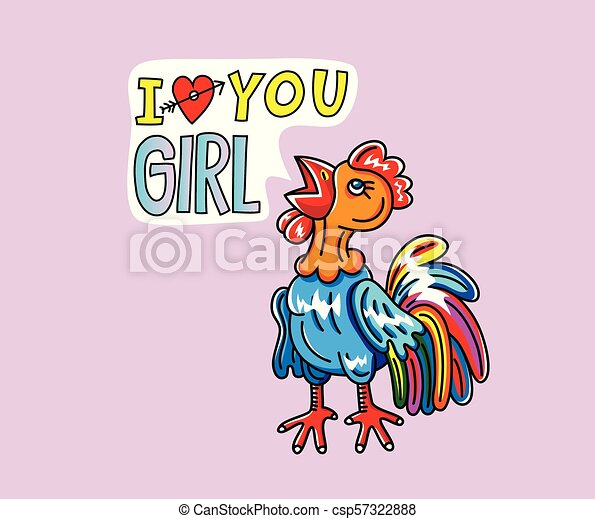 Rooster Love You girl Cartoon - csp57322888