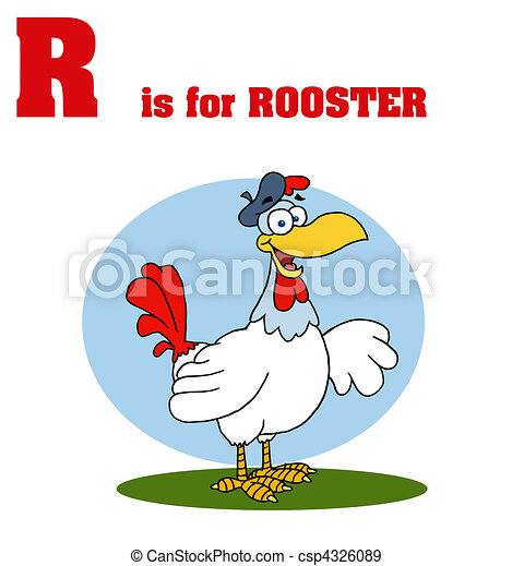 Rooster With R Is For Rooster Text  - csp4326089