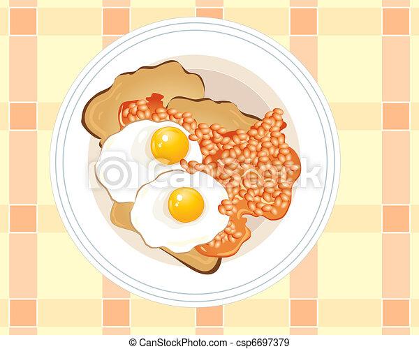 roosteren, eitjes, gebraden - csp6697379