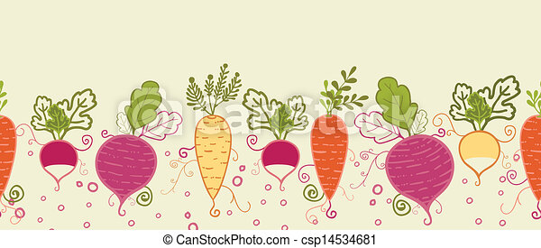 Root Vegetables Horizontal Seamless Pattern Background Border Vector