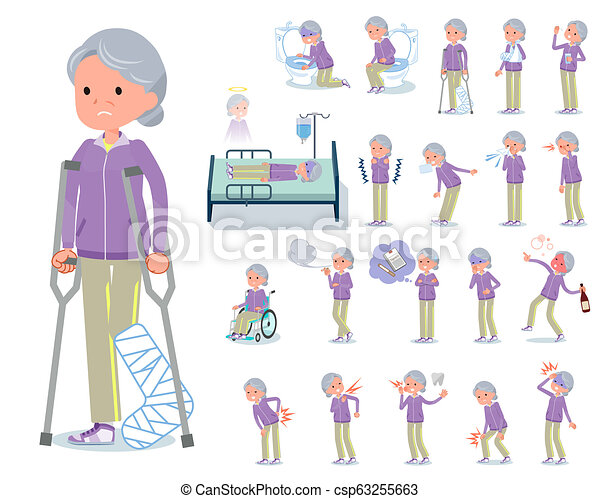 La abuela de tipo plana está enferma - csp63255663