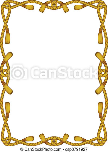 rope frame isolated on white - csp8791927