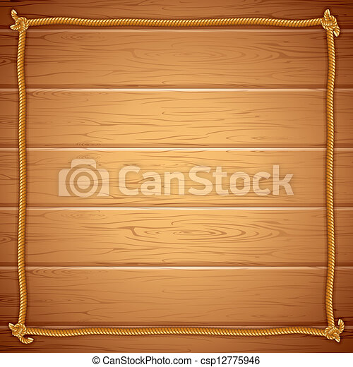 Rope frame on wood. vector template for yuor text. Wooden background ...