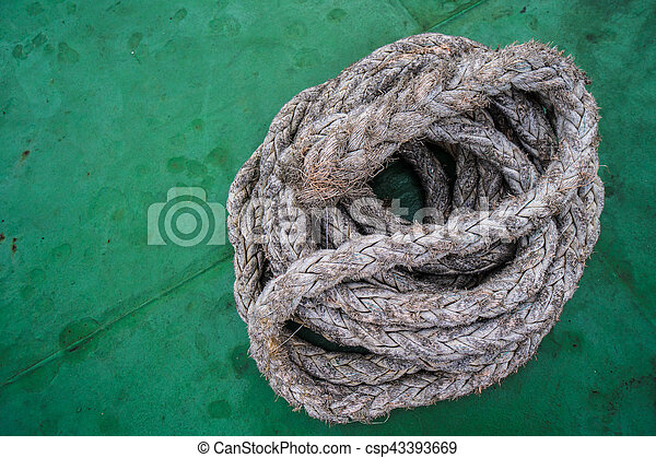 Rope on boat's deck - csp43393669