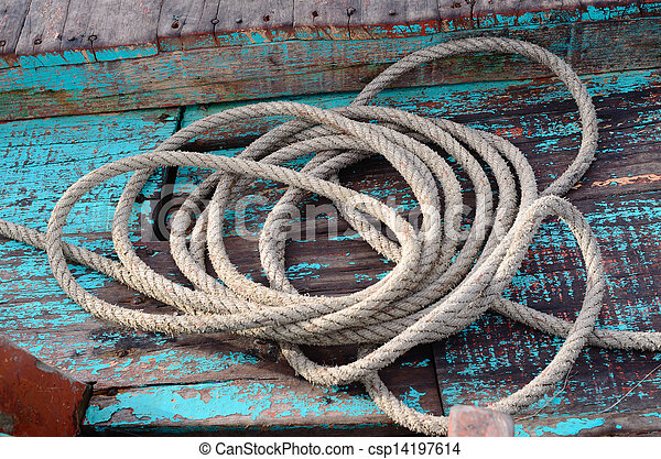Rope on fisherman's boat. - csp14197614
