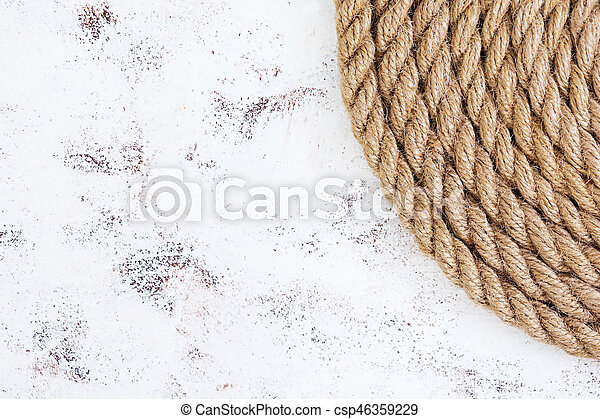 Rope on white background. Top view - csp46359229
