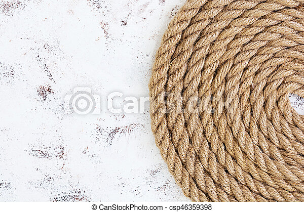 Rope on white background. Top view - csp46359398